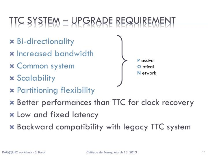 TTC system – upgrade requirement