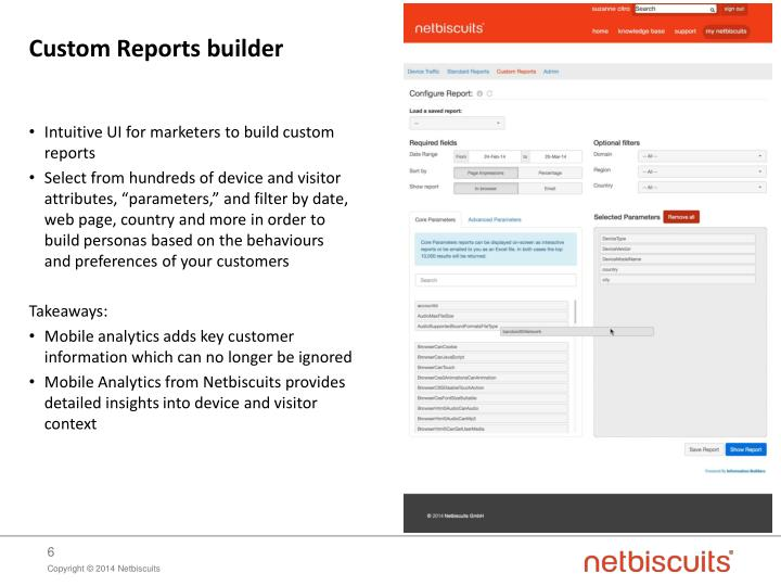 Intuitive UI for marketers to build custom reports