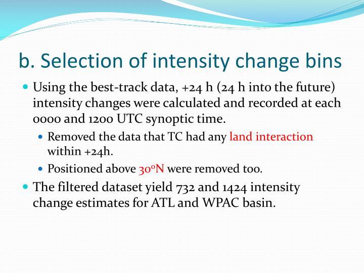 b. Selection of intensity change bins