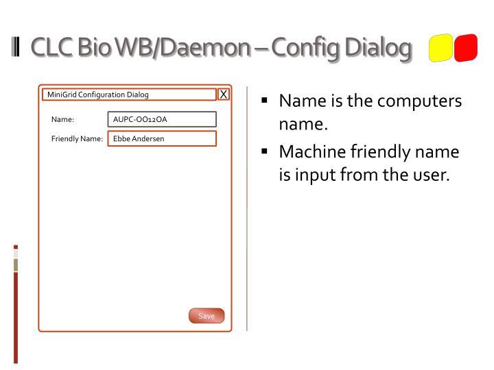 CLC Bio WB/Daemon – Config Dialog