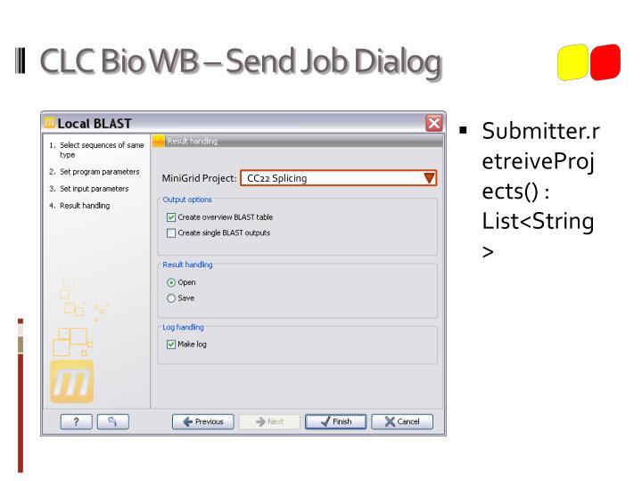 CLC Bio WB – Send Job Dialog