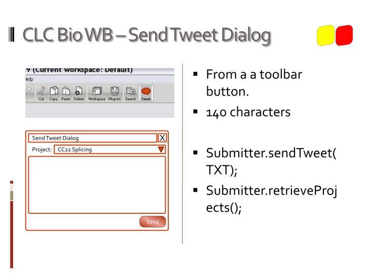 CLC Bio WB – Send Tweet Dialog