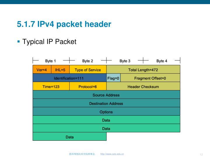 5.1.7 IPv4 packet header