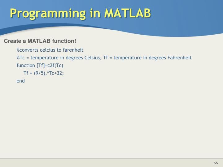 Programming in MATLAB