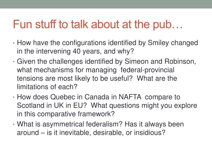 Fun stuff to talk about at the pub…