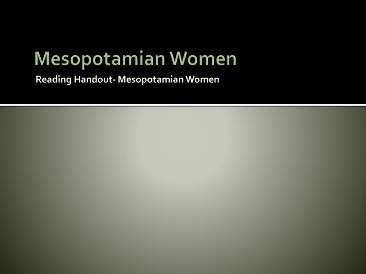 Mesopotamian Women