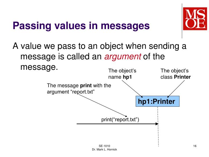 Passing values in messages