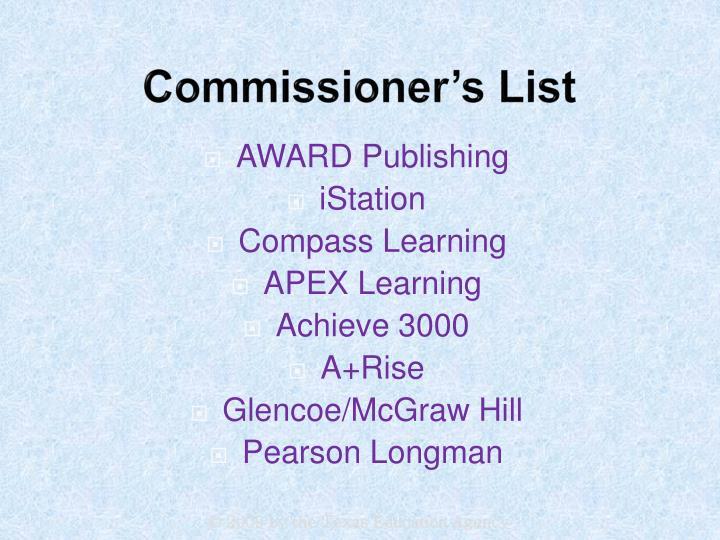 Commissioner's List