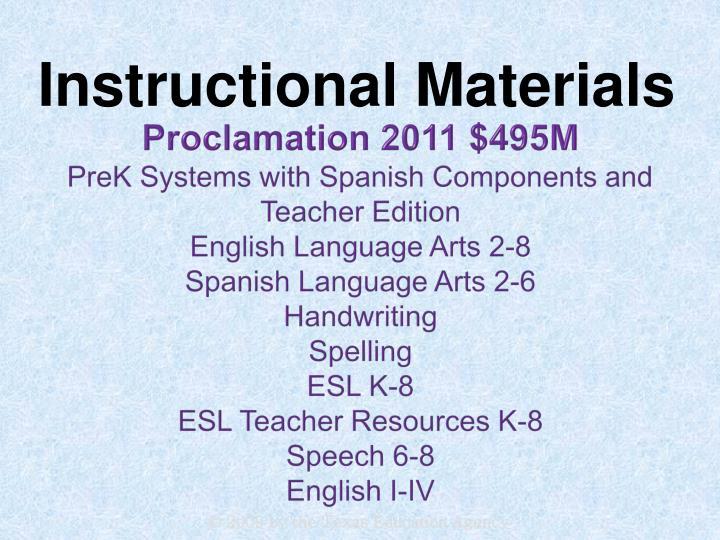 Proclamation 2011 $495M