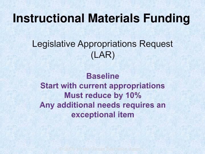 Legislative Appropriations Request
