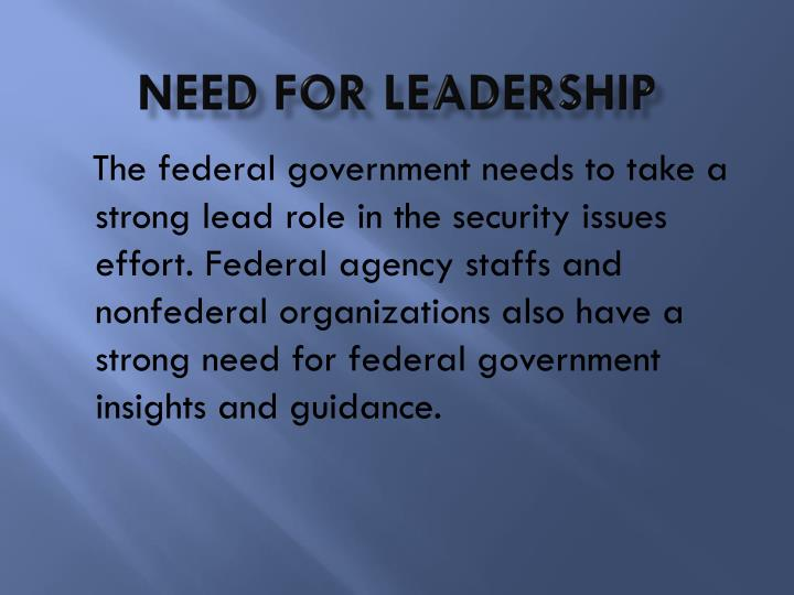 Need for leadership