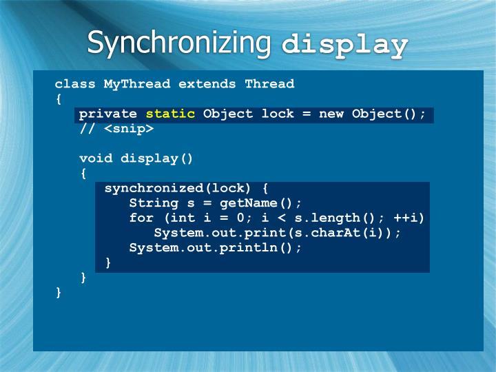 Synchronizing
