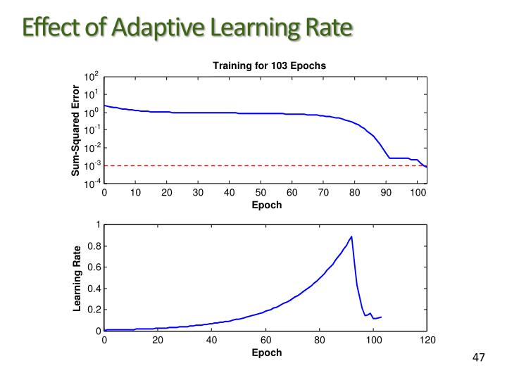 Effect of Adaptive Learning Rate