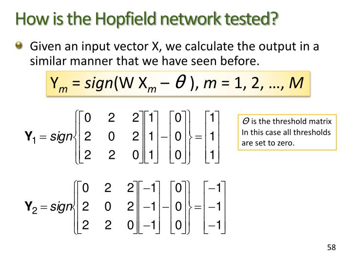 How is the Hopfield network tested?