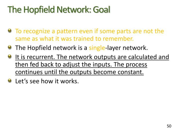 The Hopfield Network: Goal
