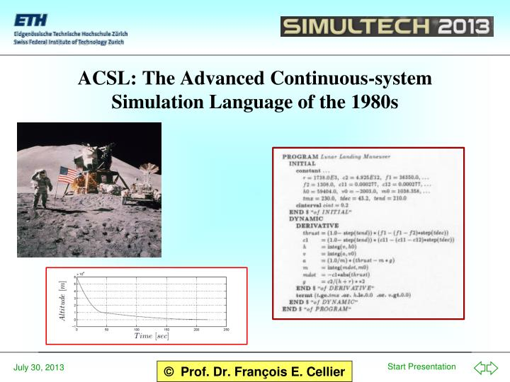 ACSL: The Advanced Continuous-system Simulation Language of the 1980s