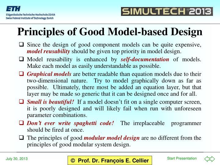 Principles of Good Model-based Design