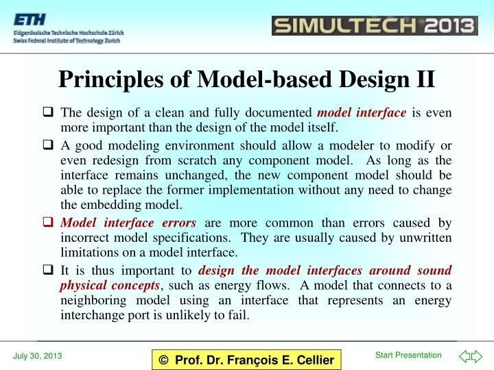 Principles of Model-based Design II