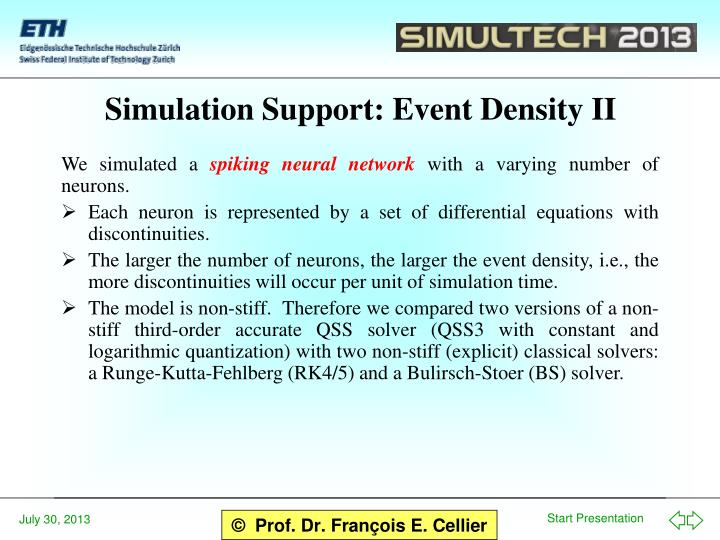 Simulation Support: Event Density II