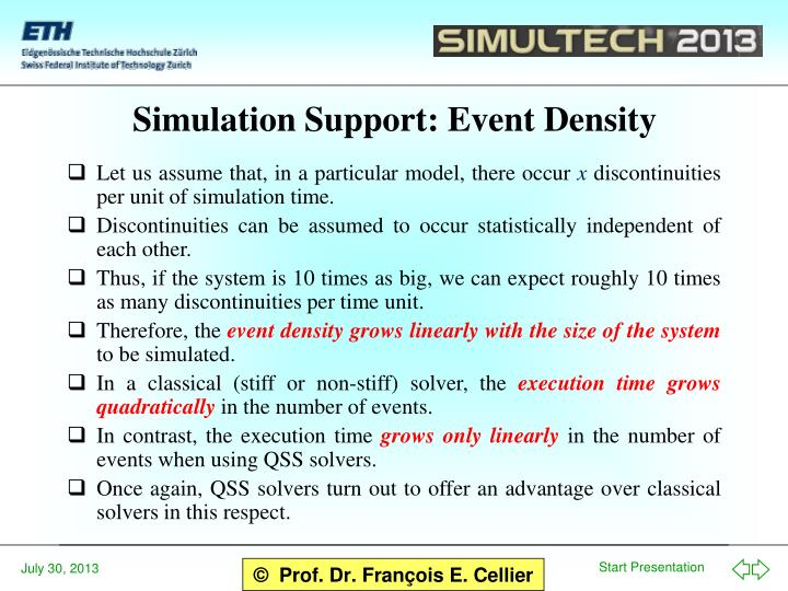 Simulation Support: Event Density