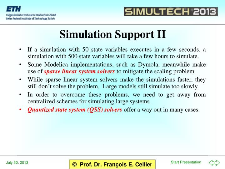 Simulation Support II