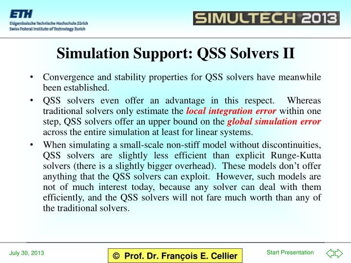Simulation Support: QSS Solvers II