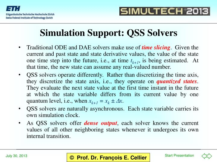 Simulation Support: QSS Solvers