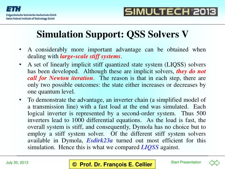 Simulation Support: QSS Solvers V