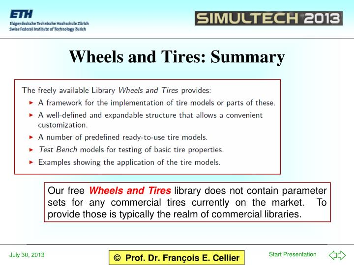 Wheels and Tires: Summary