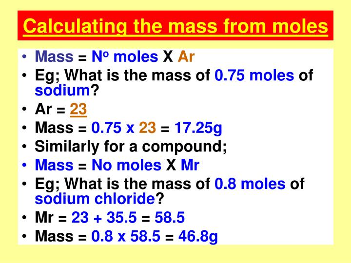 Calculating the mass from moles