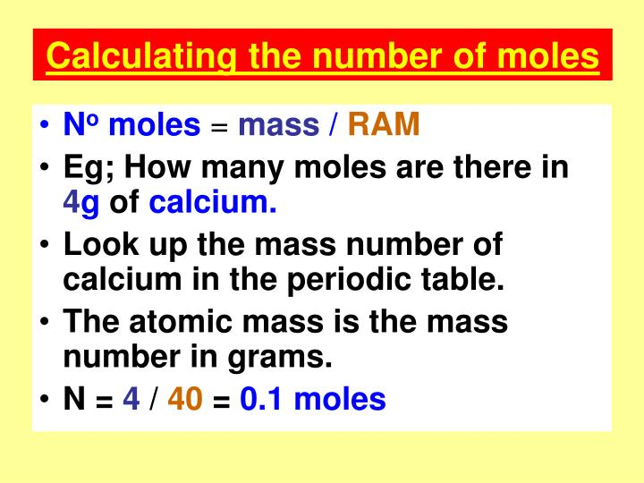 Calculating the number of moles