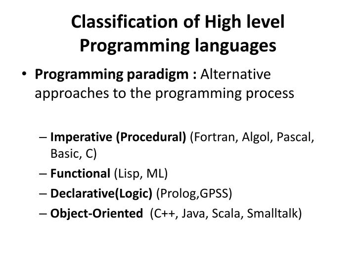 Classification of high level programming languages