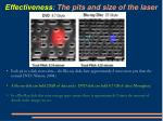 effectiveness the pits and size of the laser