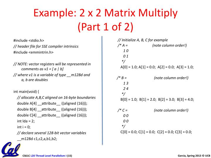 Example: 2 x 2 Matrix Multiply