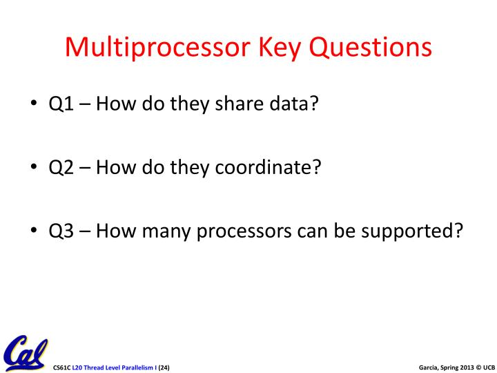 Multiprocessor Key Questions