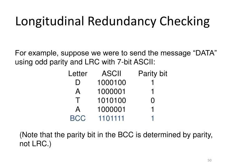 Longitudinal Redundancy Checking