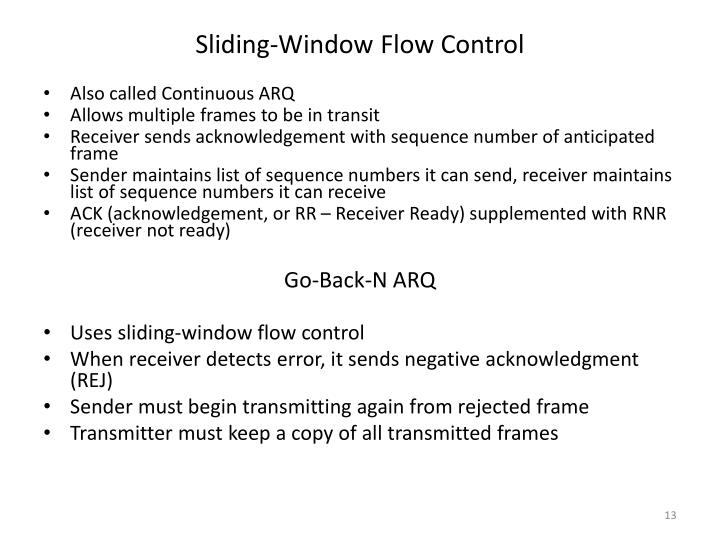 Sliding-Window Flow Control