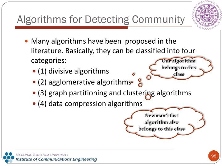 Algorithms for Detecting Community