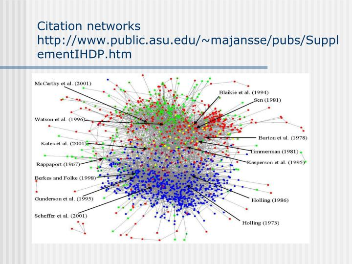Citation networks http://www.public.asu.edu/~majansse/pubs/SupplementIHDP.htm