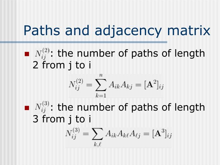 Paths and adjacency matrix