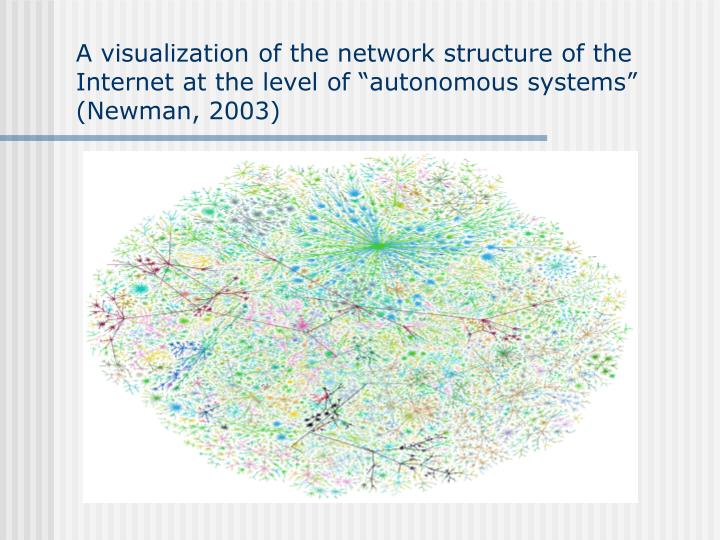 "A visualization of the network structure of the Internet at the level of ""autonomous systems"" (Newman, 2003)"