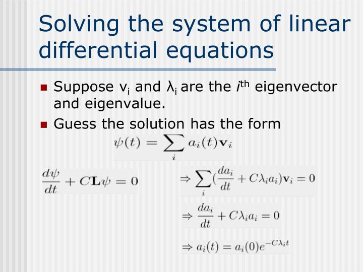 Solving the system of linear differential equations