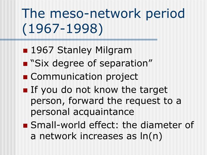 The meso-network period (1967-1998)
