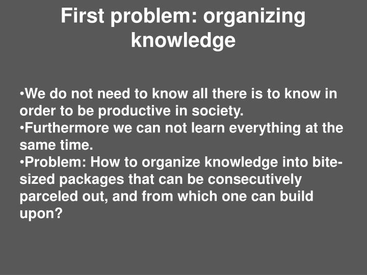First problem: organizing knowledge