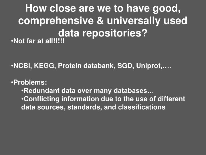 How close are we to have good, comprehensive & universally used data repositories?