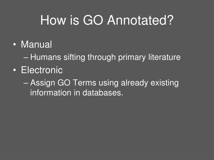 How is GO Annotated?