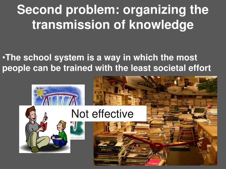 Second problem: organizing the transmission of knowledge