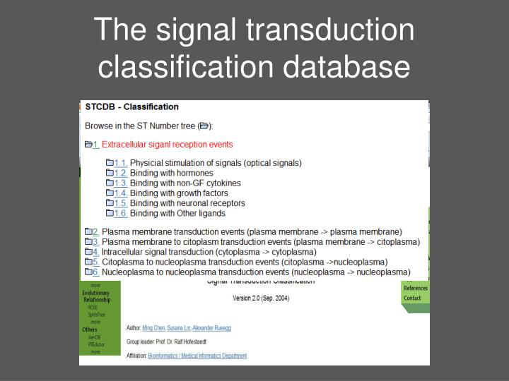 The signal transduction classification database