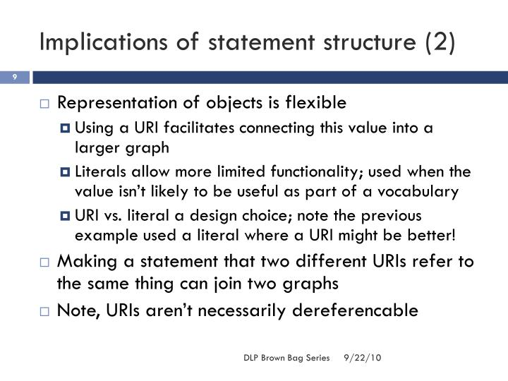 Implications of statement structure (2)