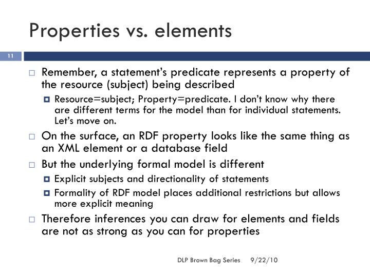 Properties vs. elements